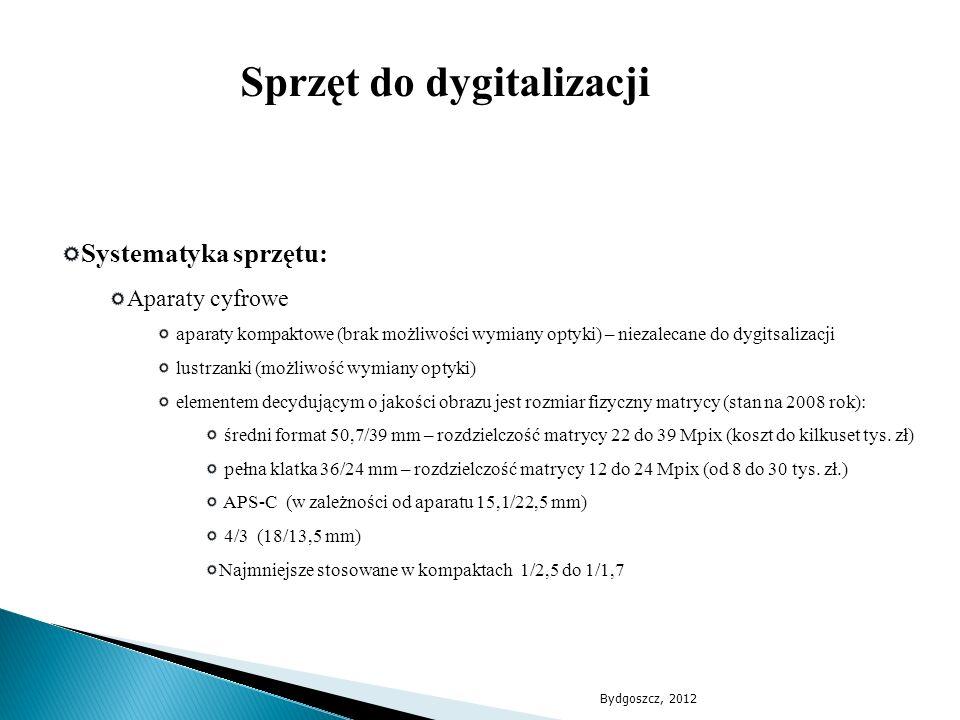 Systematyka sprzętu: Aparaty cyfrowe aparaty kompaktowe (brak możliwości wymiany optyki) – niezalecane do dygitsalizacji lustrzanki (możliwość wymiany
