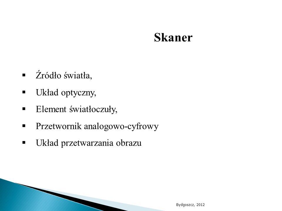  Źródło światła,  Układ optyczny,  Element światłoczuły,  Przetwornik analogowo-cyfrowy  Układ przetwarzania obrazu Skaner Bydgoszcz, 2012