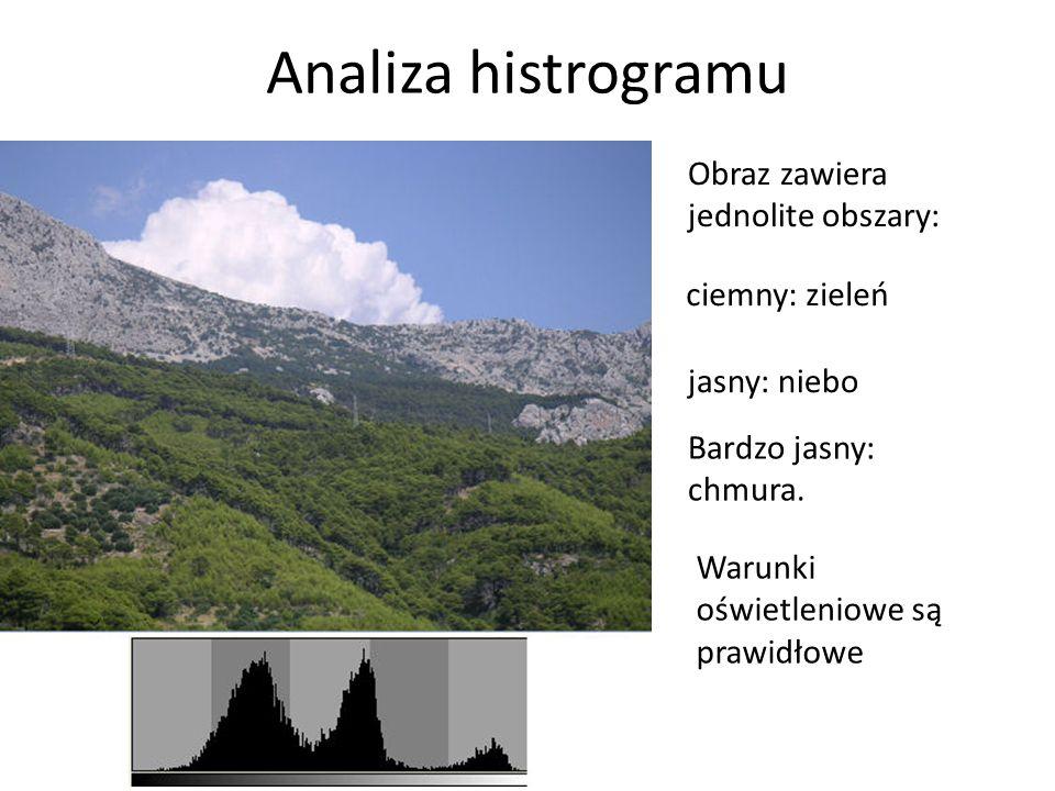Analiza histrogramu Obraz zawiera jednolite obszary: Bardzo jasny: chmura. jasny: niebo ciemny: zieleń Warunki oświetleniowe są prawidłowe