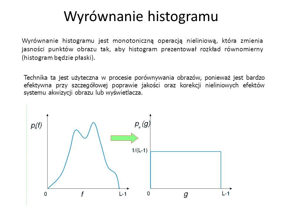Wyrównanie histogramu Wyrównanie histogramu jest monotoniczną operacją nieliniową, która zmienia jasności punktów obrazu tak, aby histogram prezentowa