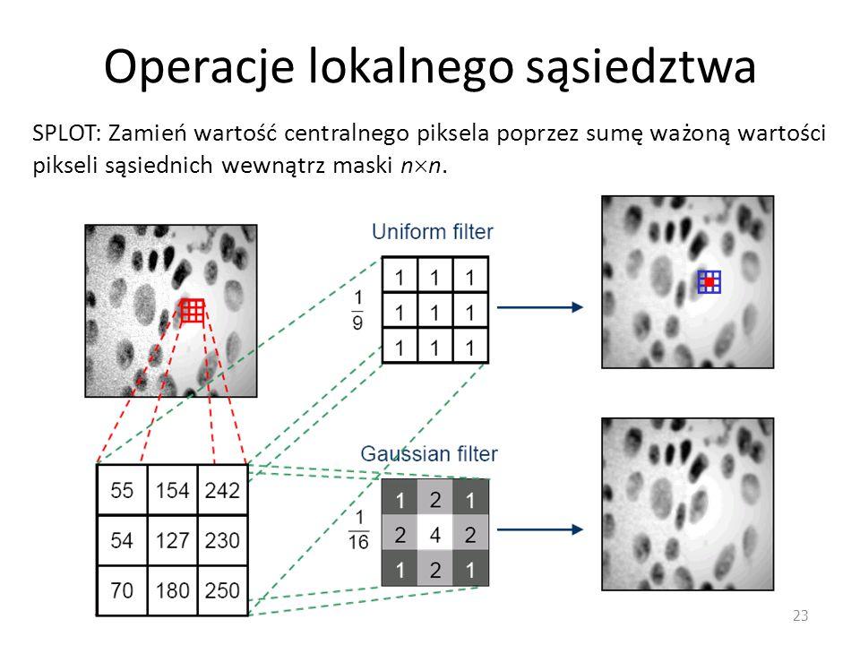 Operacje lokalnego sąsiedztwa 23 SPLOT: Zamień wartość centralnego piksela poprzez sumę ważoną wartości pikseli sąsiednich wewnątrz maski n  n.