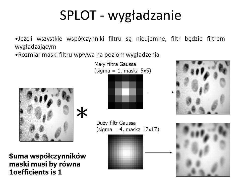SPLOT - wygładzanie 24 Jeżeli wszystkie współczynniki filtru są nieujemne, filtr będzie filtrem wygładzającym Rozmiar maski filtru wpływa na poziom wy
