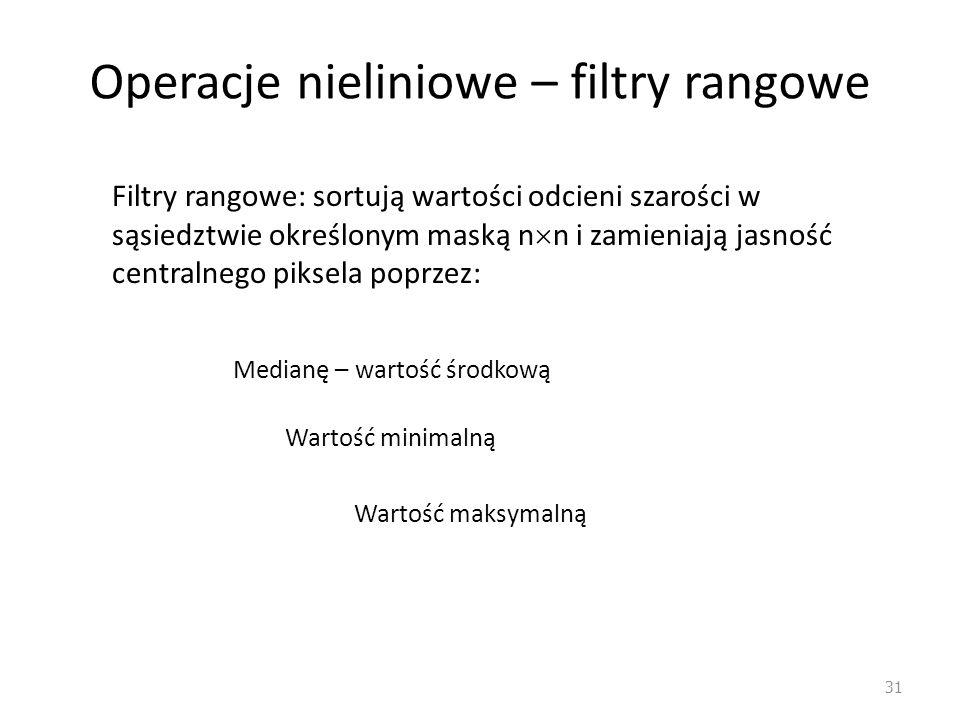 Operacje nieliniowe – filtry rangowe 31 Filtry rangowe: sortują wartości odcieni szarości w sąsiedztwie określonym maską n  n i zamieniają jasność ce