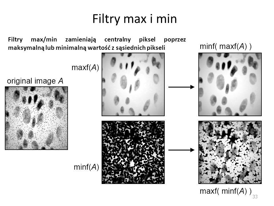 Filtry max i min 33 Filtry max/min zamieniają centralny piksel poprzez maksymalną lub minimalną wartość z sąsiednich pikseli