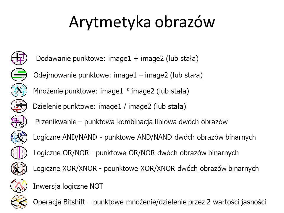 Arytmetyka obrazów Operacja Bitshift – punktowe mnożenie/dzielenie przez 2 wartości jasności Dodawanie punktowe: image1 + image2 (lub stała) Odejmowan