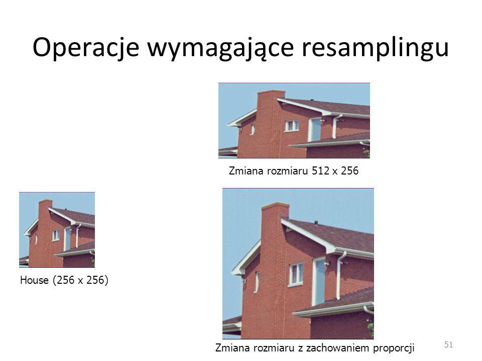 Operacje wymagające resamplingu 51 House (256 x 256) Zmiana rozmiaru 512 x 256 Zmiana rozmiaru z zachowaniem proporcji