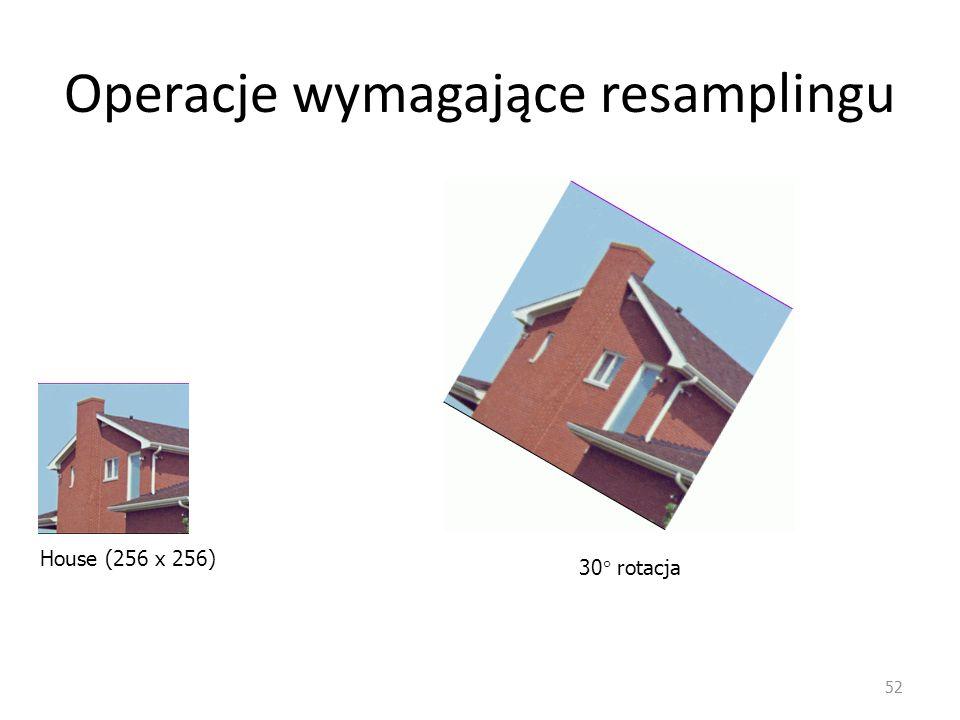 Operacje wymagające resamplingu 52 House (256 x 256) 30  rotacja