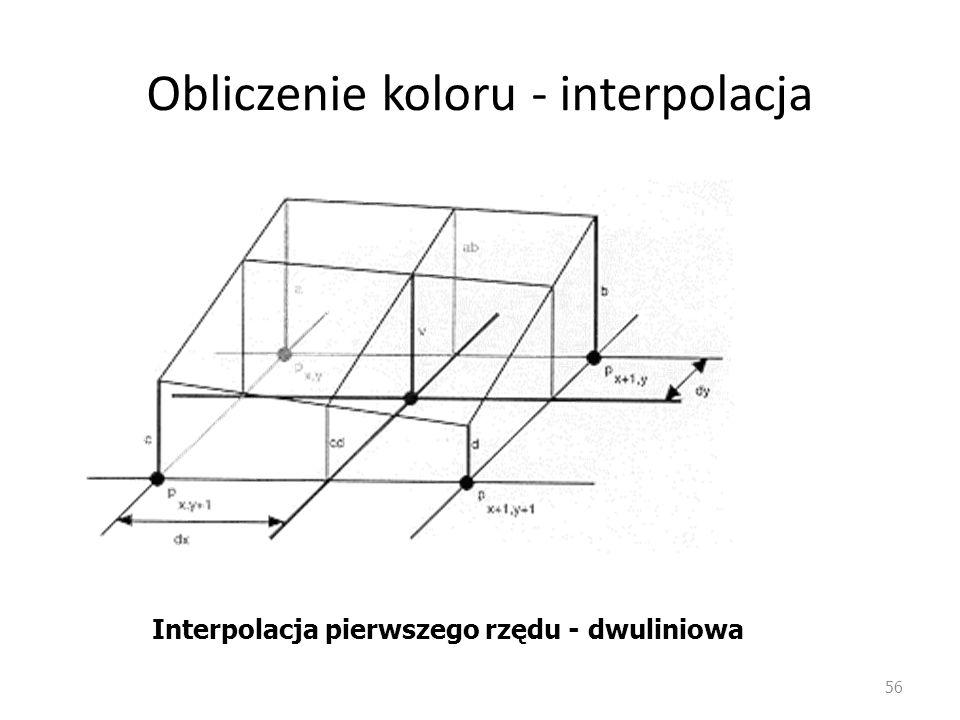 Obliczenie koloru - interpolacja 56 Interpolacja pierwszego rzędu - dwuliniowa
