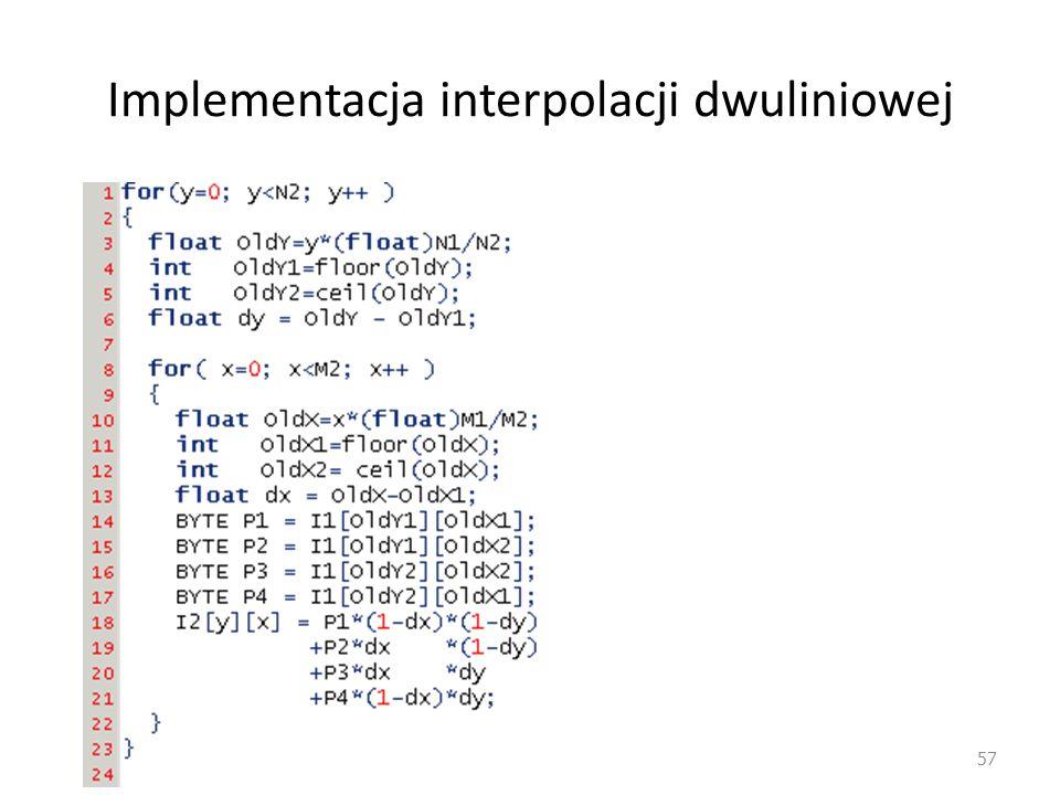 Implementacja interpolacji dwuliniowej 57