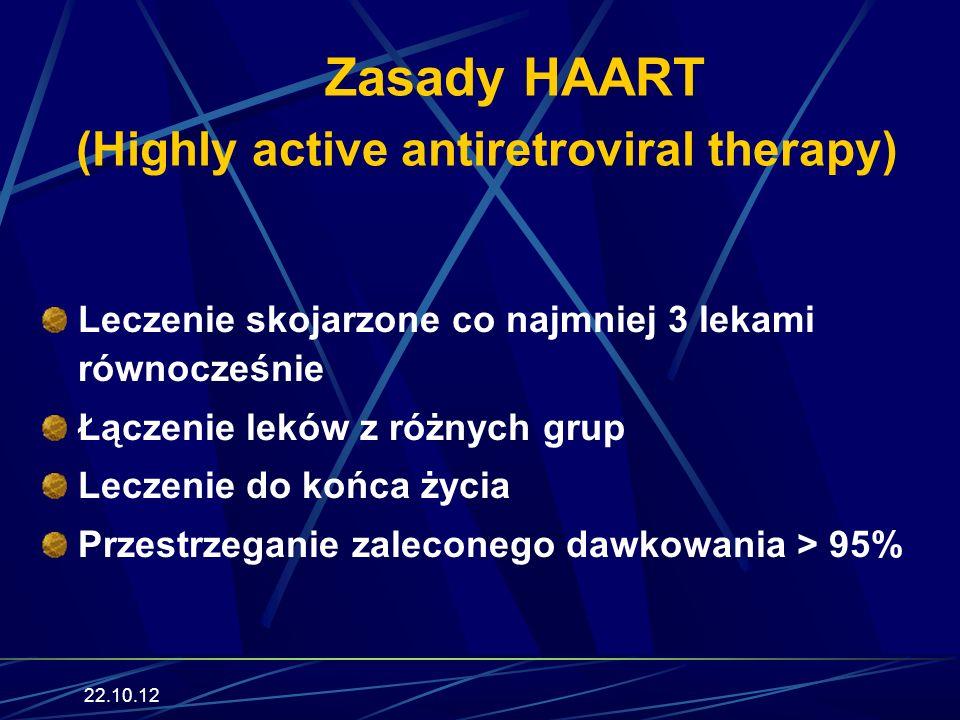 22.10.12 Zasady HAART (Highly active antiretroviral therapy) Leczenie skojarzone co najmniej 3 lekami równocześnie Łączenie leków z różnych grup Lecze