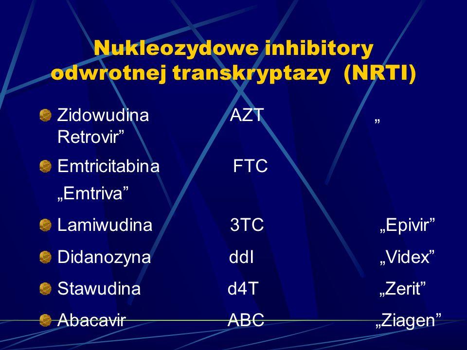 "Nukleozydowe inhibitory odwrotnej transkryptazy (NRTI) Zidowudina AZT "" Retrovir"" Emtricitabina FTC ""Emtriva"" Lamiwudina 3TC ""Epivir"" Didanozyna ddI """