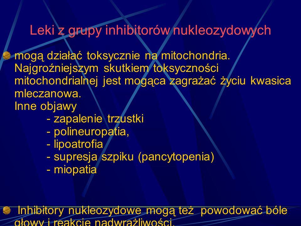 Leki z grupy inhibitorów nukleozydowych mogą działać toksycznie na mitochondria. Najgroźniejszym skutkiem toksyczności mitochondrialnej jest mogąca za