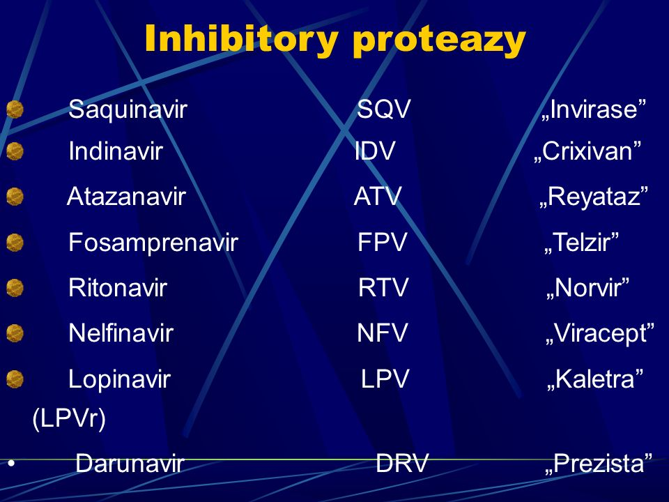 "Inhibitory proteazy Saquinavir SQV ""Invirase Indinavir IDV ""Crixivan Atazanavir ATV ""Reyataz Fosamprenavir FPV ""Telzir Ritonavir RTV ""Norvir Nelfinavir NFV ""Viracept Lopinavir LPV ""Kaletra (LPVr) Darunavir DRV ""Prezista"