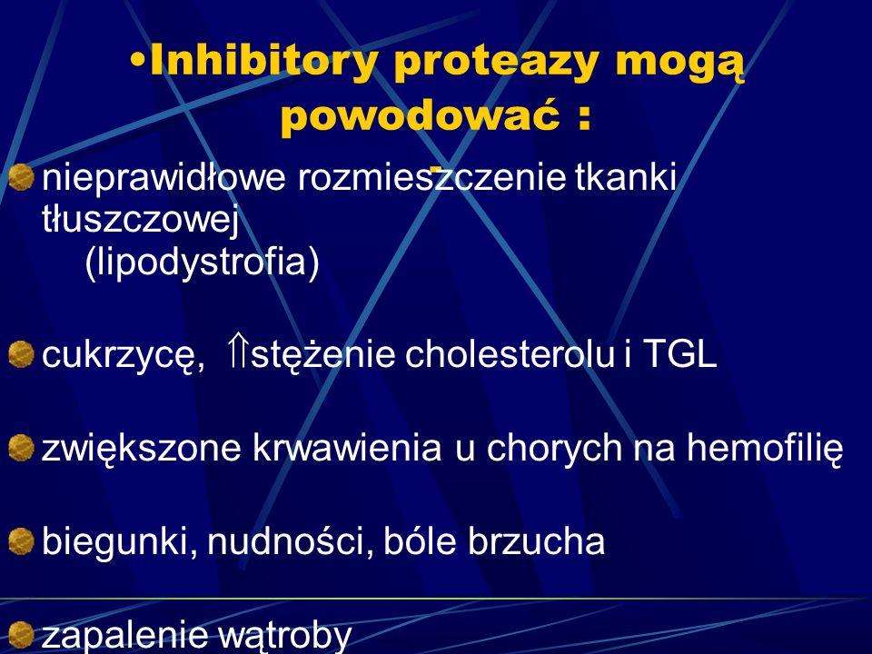 Inhibitory proteazy mogą powodować : - nieprawidłowe rozmieszczenie tkanki tłuszczowej (lipodystrofia) cukrzycę,  stężenie cholesterolu i TGL zwiększone krwawienia u chorych na hemofilię biegunki, nudności, bóle brzucha zapalenie wątroby