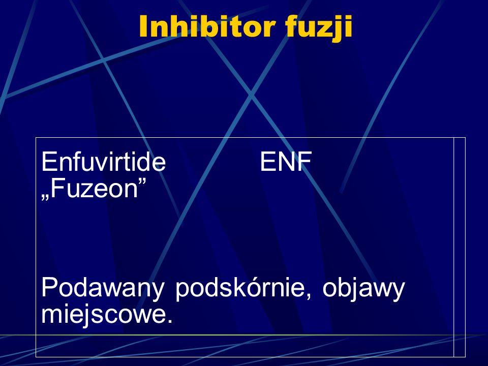 """Inhibitor fuzji Enfuvirtide ENF """"Fuzeon"""" Podawany podskórnie, objawy miejscowe."""