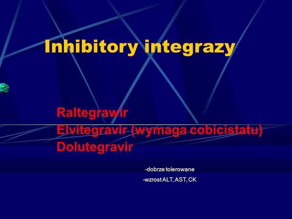 Inhibitory integrazy Raltegrawir Elvitegravir (wymaga cobicistatu) Dolutegravir -dobrze tolerowane -wzrost ALT, AST, CK