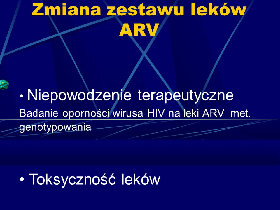 Zmiana zestawu leków ARV Niepowodzenie terapeutyczne Badanie oporności wirusa HIV na leki ARV met.