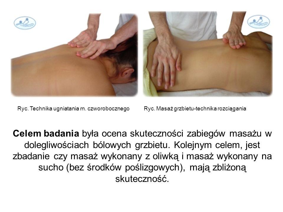 Ryc. Technika ugniatania m. czworobocznego Ryc. Masaż grzbietu-technika rozciągania Celem badania była ocena skuteczności zabiegów masażu w dolegliwoś