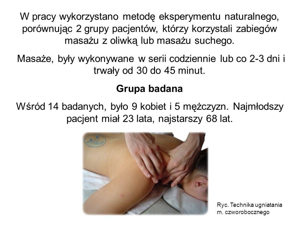 W pracy wykorzystano metodę eksperymentu naturalnego, porównując 2 grupy pacjentów, którzy korzystali zabiegów masażu z oliwką lub masażu suchego. Mas