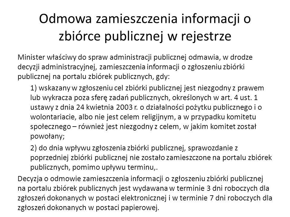 Odmowa zamieszczenia informacji o zbiórce publicznej w rejestrze Minister właściwy do spraw administracji publicznej odmawia, w drodze decyzji adminis
