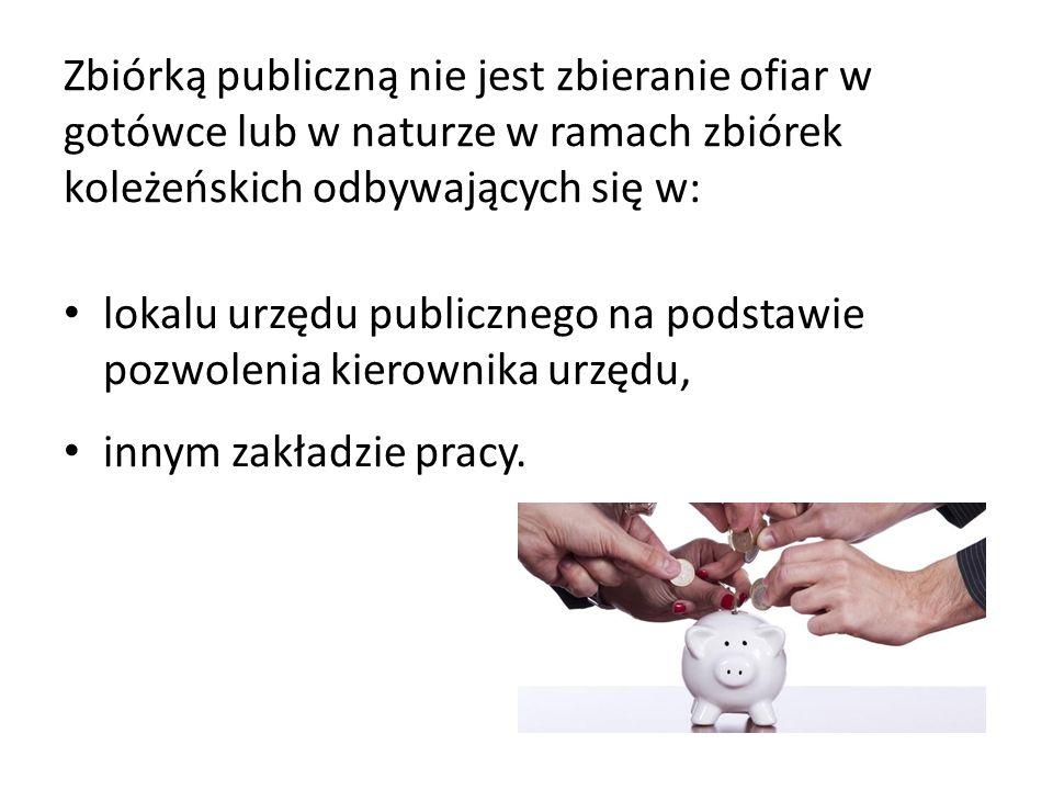 Zbiórką publiczną nie jest zbieranie ofiar w gotówce lub w naturze w ramach zbiórek koleżeńskich odbywających się w: lokalu urzędu publicznego na podstawie pozwolenia kierownika urzędu, innym zakładzie pracy.