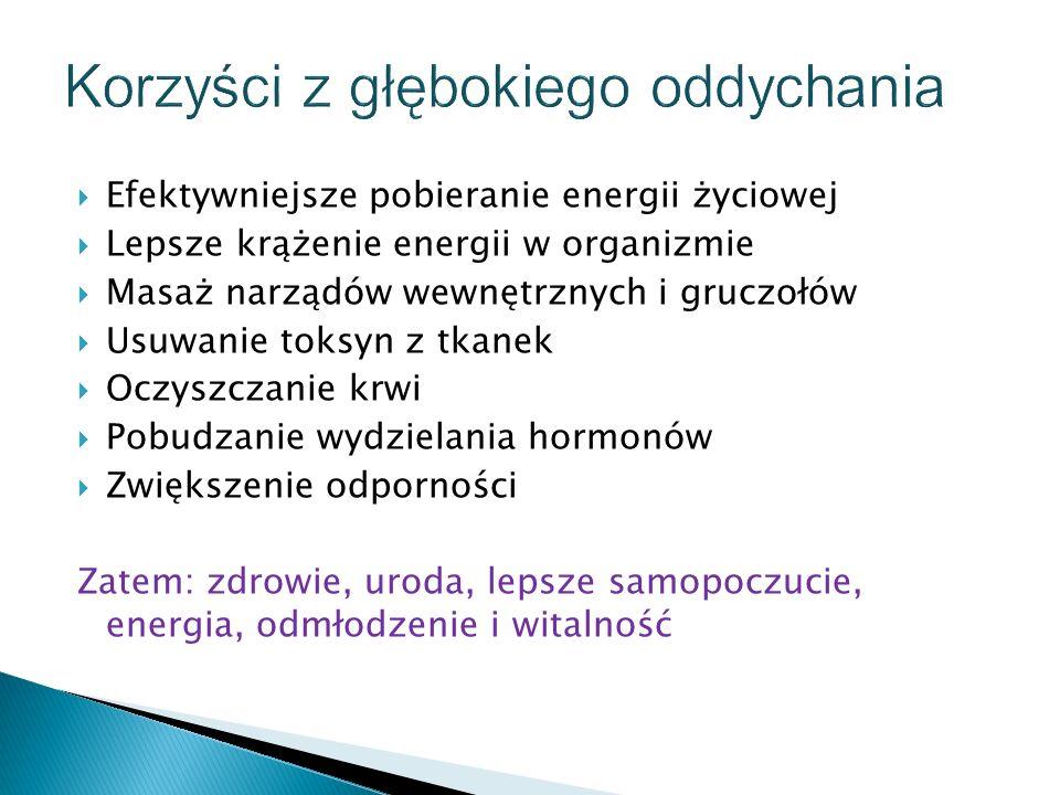  Efektywniejsze pobieranie energii życiowej  Lepsze krążenie energii w organizmie  Masaż narządów wewnętrznych i gruczołów  Usuwanie toksyn z tkan