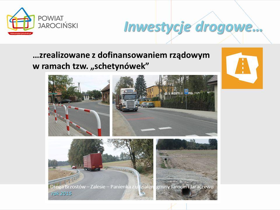 """Inwestycje drogowe… …zrealizowane z dofinansowaniem rządowym w ramach tzw. """"schetynówek"""" Droga Brzostów – Zalesie – Panienka z udziałem gminy Jarocin"""