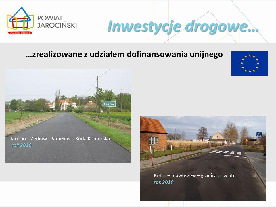 Inwestycje drogowe… …zrealizowane z udziałem dofinansowania unijnego Jarocin – Żerków – Śmiełów – Ruda Komorska rok 2010 Kotlin – Sławoszew – granica