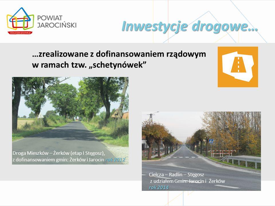 Inwestycje drogowe… Droga Mieszków – Żerków (etap I Stęgosz), rok 2012 z dofinansowaniem gmin: Żerków i Jarocin rok 2012 …zrealizowane z dofinansowaniem rządowym w ramach tzw.
