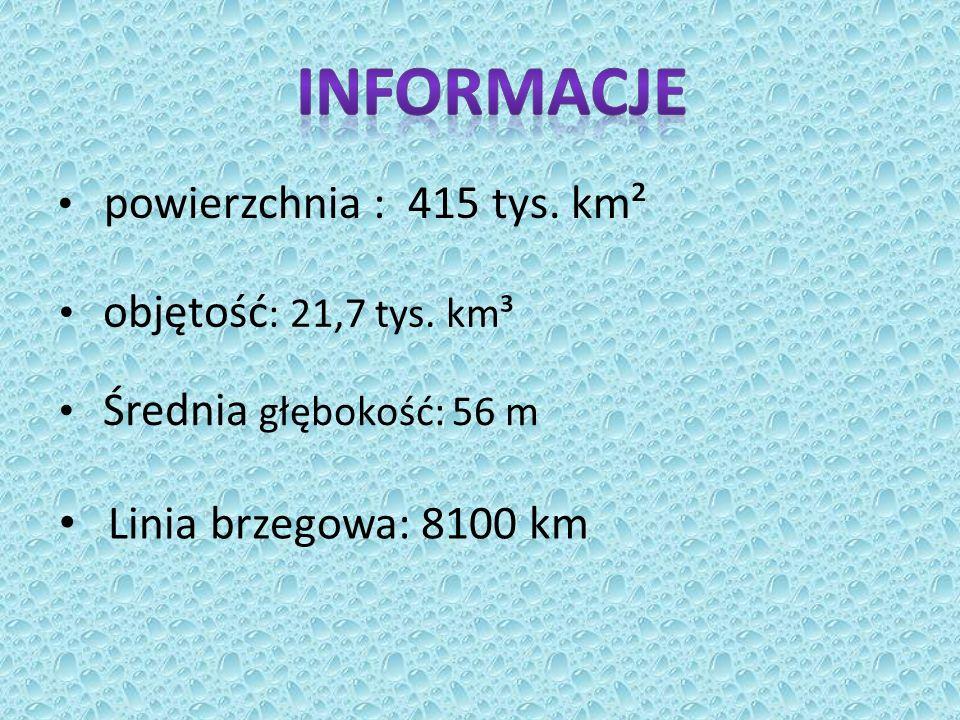 powierzchnia : 415 tys.km² objętość : 21,7 tys.