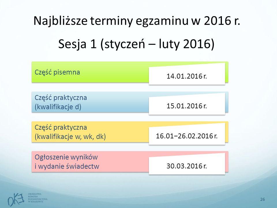 Sesja 1 (styczeń – luty 2016) Część pisemna Część praktyczna (kwalifikacje d) 14.01.2016 r.