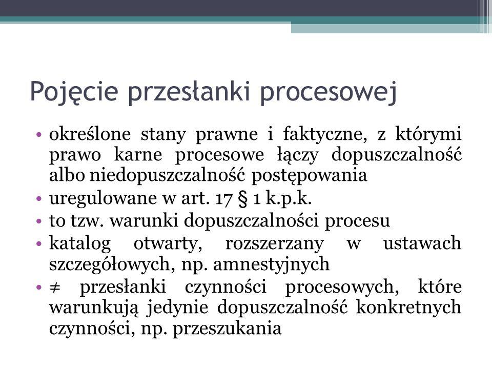 Pojęcie przesłanki procesowej określone stany prawne i faktyczne, z którymi prawo karne procesowe łączy dopuszczalność albo niedopuszczalność postępowania uregulowane w art.