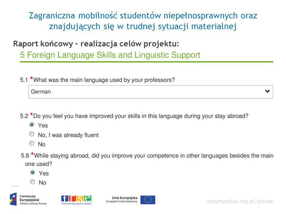 erasmusplus.org.pl/power Zagraniczna mobilność studentów niepełnosprawnych oraz znajdujących się w trudnej sytuacji materialnej Raport końcowy – realizacja celów projektu: