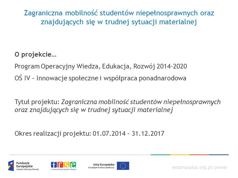 erasmusplus.org.pl/power Zagraniczna mobilność studentów niepełnosprawnych oraz znajdujących się w trudnej sytuacji materialnej Przebieg realizacji projektu Wskaźniki : Liczba planowana w projekcie – 3100 (dla 2 lat akademickich) Liczba osiągnięta (na dzień 30.09.2015) – 2193 Liczba osób objętych wsparciem w ramach programów mobilności ponadnarodowej: