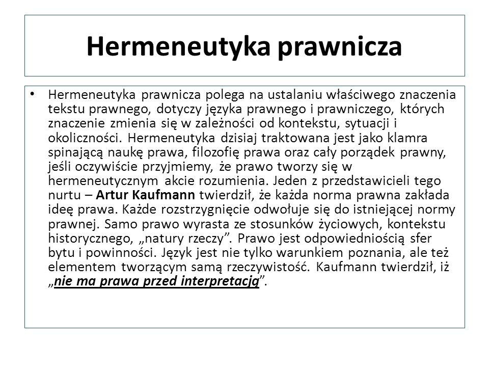 Hermeneutyka prawnicza Hermeneutyka prawnicza polega na ustalaniu właściwego znaczenia tekstu prawnego, dotyczy języka prawnego i prawniczego, których