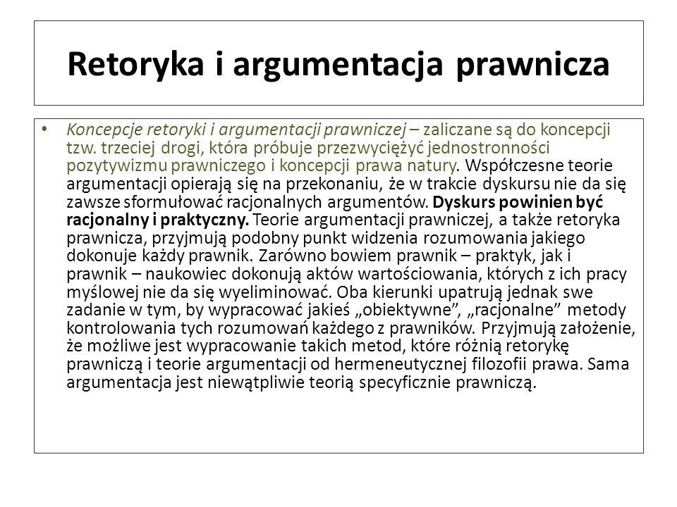 Retoryka i argumentacja prawnicza Koncepcje retoryki i argumentacji prawniczej – zaliczane są do koncepcji tzw. trzeciej drogi, która próbuje przezwyc