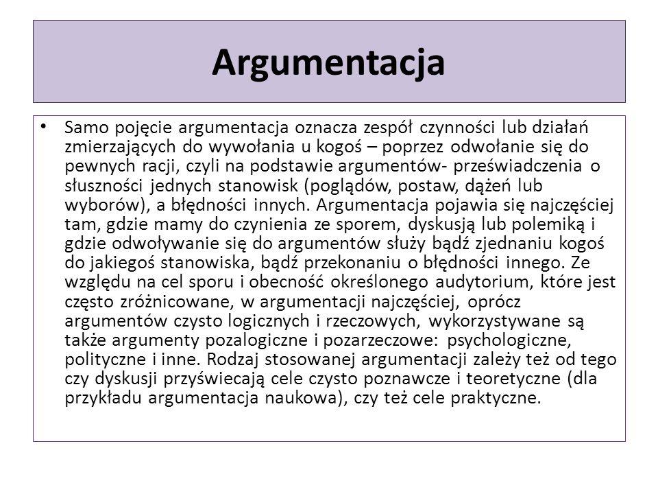 Argumentacja Samo pojęcie argumentacja oznacza zespół czynności lub działań zmierzających do wywołania u kogoś – poprzez odwołanie się do pewnych racj
