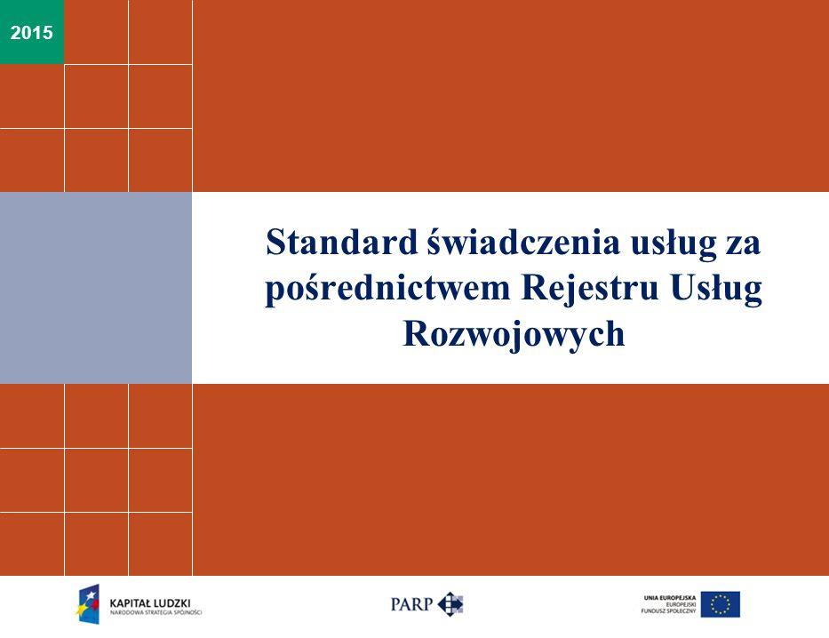 Standard usług świadczonych za pośrednictwem Rejestru Usług Rozwojowych Główne założenia:  Jeden standard dla wszystkich rodzajów usług rozwojowych,  Wypracowany standard zastąpi kryteria wejścia do RUR z Karty Podmiotu,  Utrzymacie systemu oceny usług rozwojowych,  Samoocena Podmiotu + weryfikacja przez niezależną instytucję spełnienia kryteriów ex ante (tj.