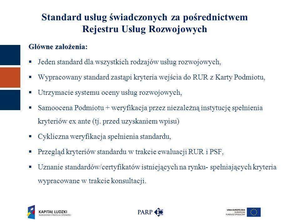 Standard usług świadczonych za pośrednictwem Rejestru Usług Rozwojowych Główne założenia:  Jeden standard dla wszystkich rodzajów usług rozwojowych,