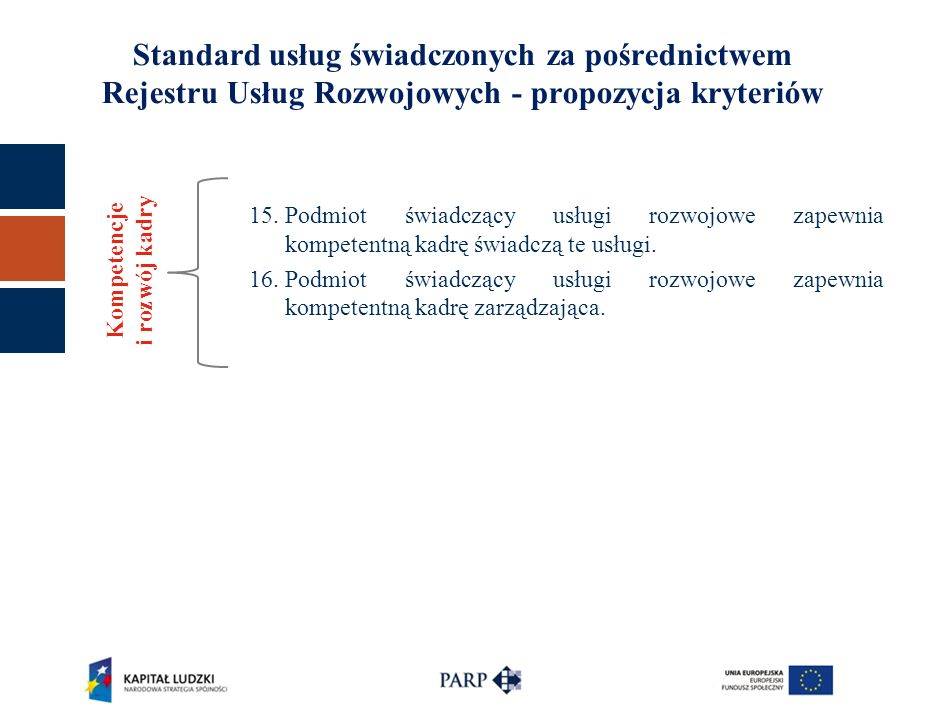 Standard usług świadczonych za pośrednictwem Rejestru Usług Rozwojowych - propozycja kryteriów 15.Podmiot świadczący usługi rozwojowe zapewnia kompete