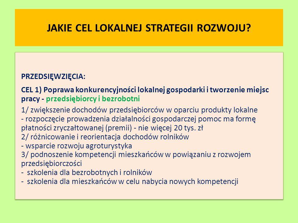 JAKIE CEL LOKALNEJ STRATEGII ROZWOJU? PRZEDSIĘWZIĘCIA: CEL 1) Poprawa konkurencyjności lokalnej gospodarki i tworzenie miejsc pracy - przedsiębiorcy i