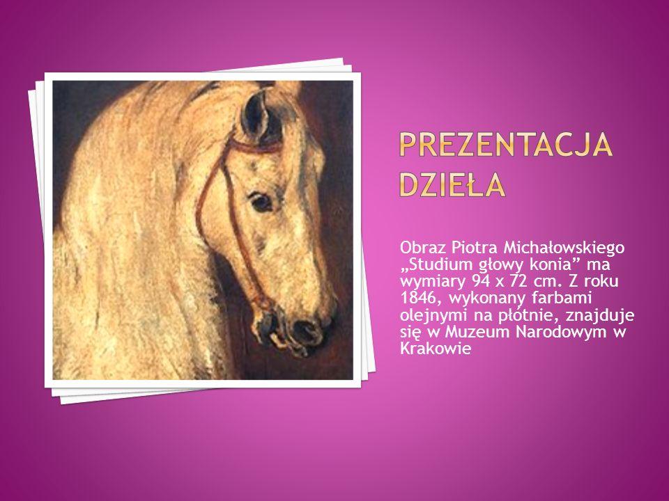 """Obraz Piotra Michałowskiego """"Studium głowy konia"""" ma wymiary 94 x 72 cm. Z roku 1846, wykonany farbami olejnymi na płótnie, znajduje się w Muzeum Naro"""