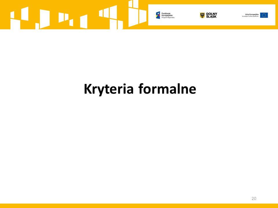 Kryteria formalne 20
