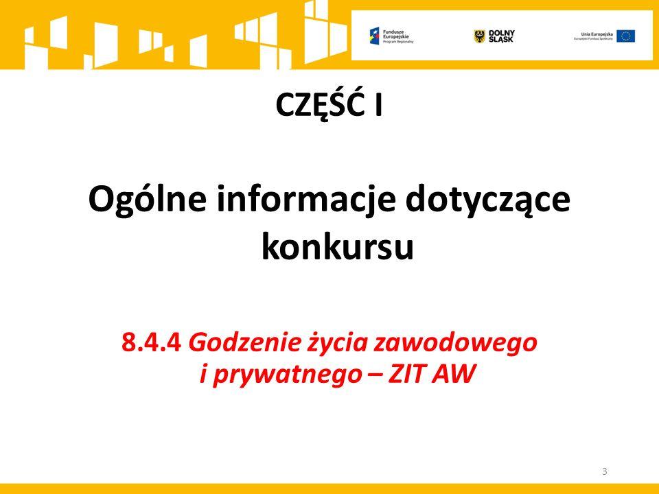 CZĘŚĆ I Ogólne informacje dotyczące konkursu 8.4.4 Godzenie życia zawodowego i prywatnego – ZIT AW 3