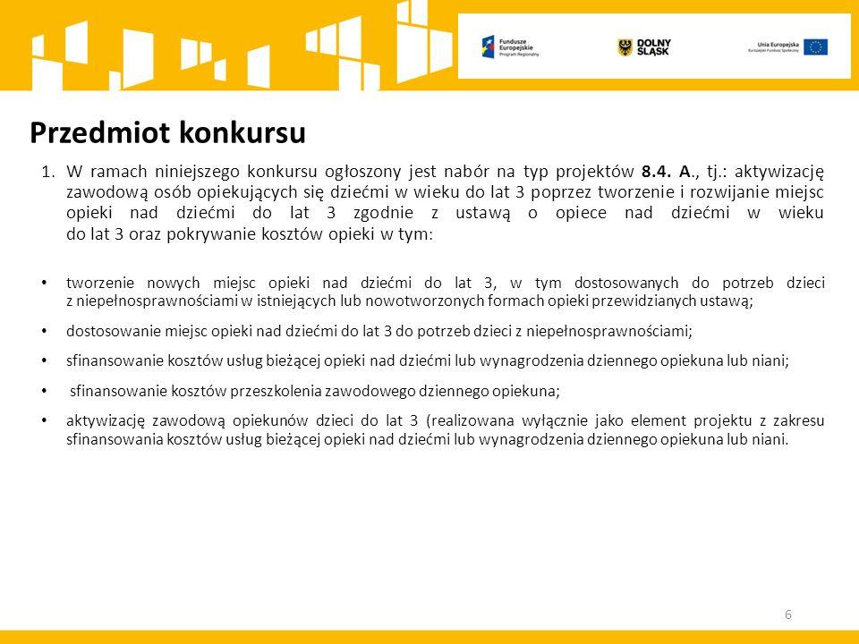Przedmiot konkursu 1.W ramach niniejszego konkursu ogłoszony jest nabór na typ projektów 8.4.