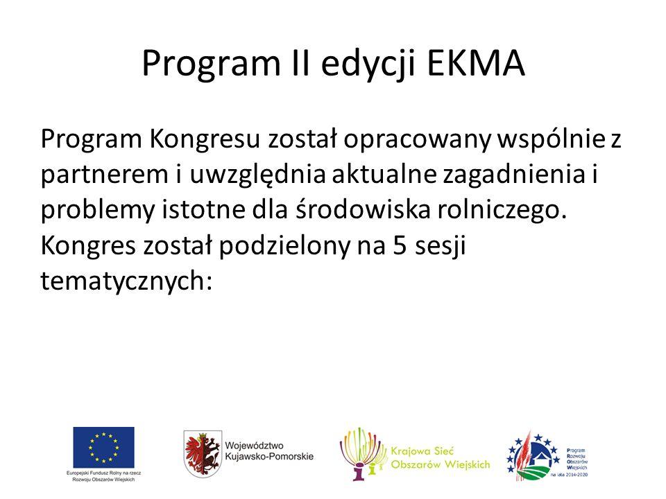 Program II edycji EKMA Program Kongresu został opracowany wspólnie z partnerem i uwzględnia aktualne zagadnienia i problemy istotne dla środowiska rolniczego.