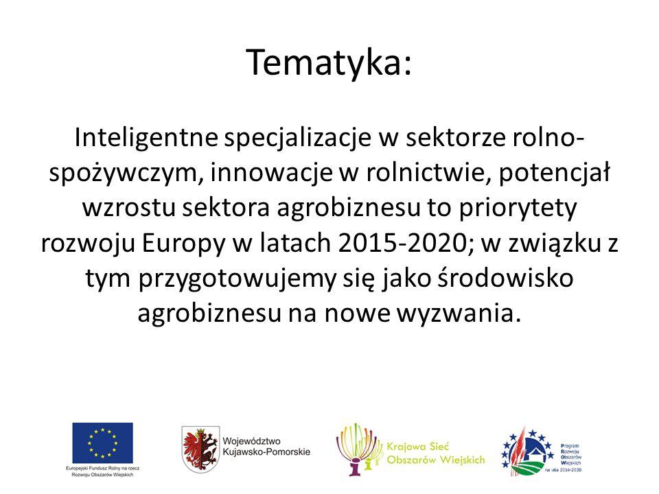 Tematyka: Inteligentne specjalizacje w sektorze rolno- spożywczym, innowacje w rolnictwie, potencjał wzrostu sektora agrobiznesu to priorytety rozwoju Europy w latach 2015-2020; w związku z tym przygotowujemy się jako środowisko agrobiznesu na nowe wyzwania.