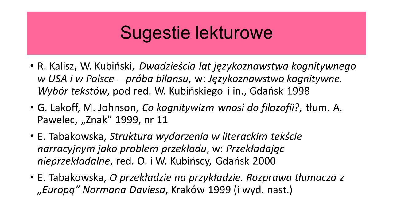 Sugestie lekturowe R. Kalisz, W.