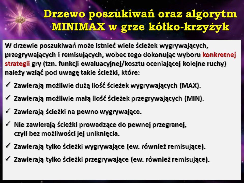 Drzewo poszukiwań dla gry kółko- krzyżyk oraz analiza MINIMAX Gracz MAX dąży do największej, a gracz MIN do najmniejszej wartości funkcji kosztu, którą należy zdefiniować dla każdej gry (strategii): Odpowiednie zdefiniowane funkcji kosztu może decydować o sukcesie lub porażce metody, gdyż to wartości wyznaczone przez nią dla poszczególnych węzłów kierują tokiem rozgrywki i ruchów gracza MAX.