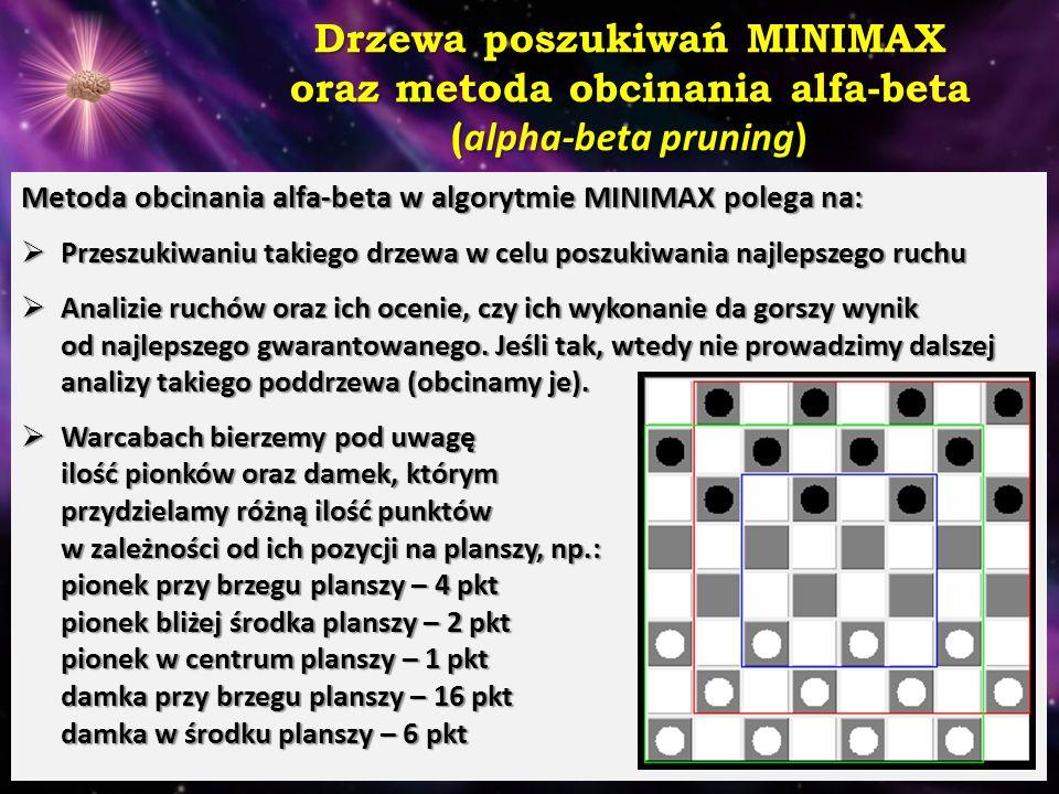 Drzewa poszukiwań MINIMAX oraz metoda obcinania alfa-beta ( alpha-beta pruning) Metoda obcinania alfa-beta w algorytmie MINIMAX polega na:  Przeszuki